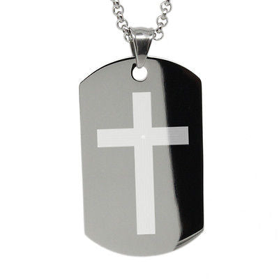 Engravable Stainless Steel Dog Tag Serenity Prayer Cross with free custom engrav