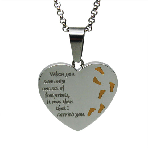 Footprints in the Sand Necklace Two-tone Heart