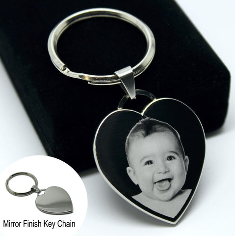 Metal Personalised Heart Keyring Keychain PHOTO ENGRAVED Mother's Day Gift