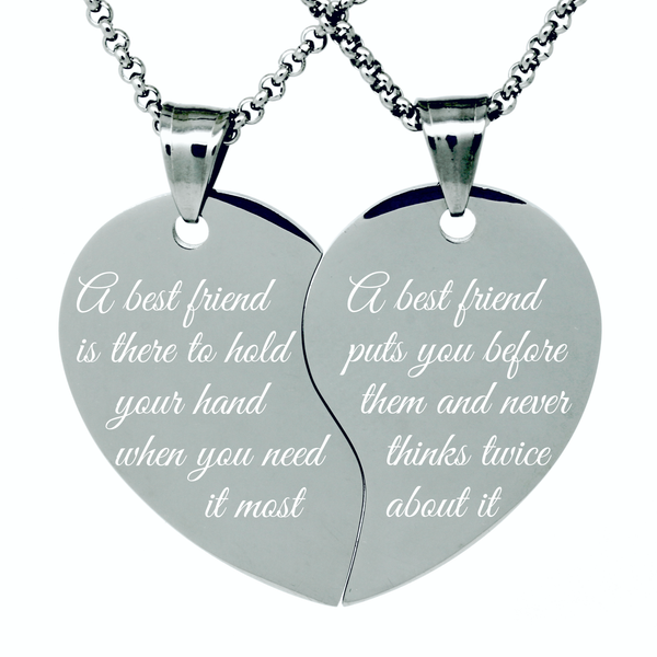 My very best friend heart necklace for 2, BFF friendship gift necklace