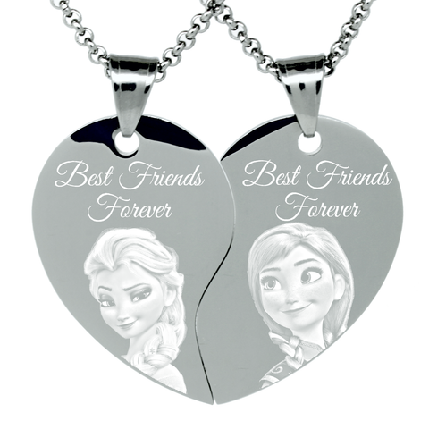 "2 Piece Stainless Steel ""Frozen best friends"" Engraved Split Heart Pendant Necklaces Sisters Gift Set"