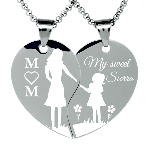 "2 Piece Stainless Steel ""Mom and Daughter holding hands"" Engraved Split Heart Pendant Necklaces Gift Set"
