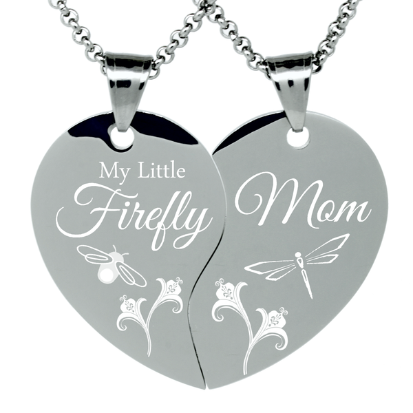 "2 Piece Stainless Steel ""My Little Firefly"" Engraved Split Heart Pendant Necklaces Mother and Daughter Gift Set"