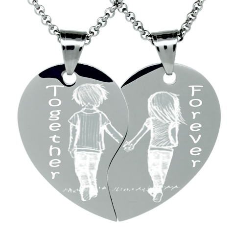 couples split heart necklace for 2