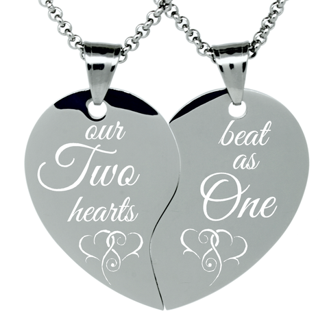 "2 Piece Stainless Steel ""Two hearts beat as One"" Engraved Split Heart Pendant Necklaces Couples Gift Set"