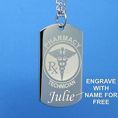 PHARMACY TECH PRAYER - Dog tag Necklace/Key chain - FREE ENGRAVING