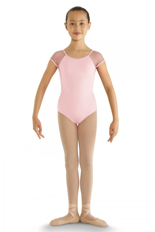 Bloch Child Heart Mesh Cap Sleeve Leotard - CL8192