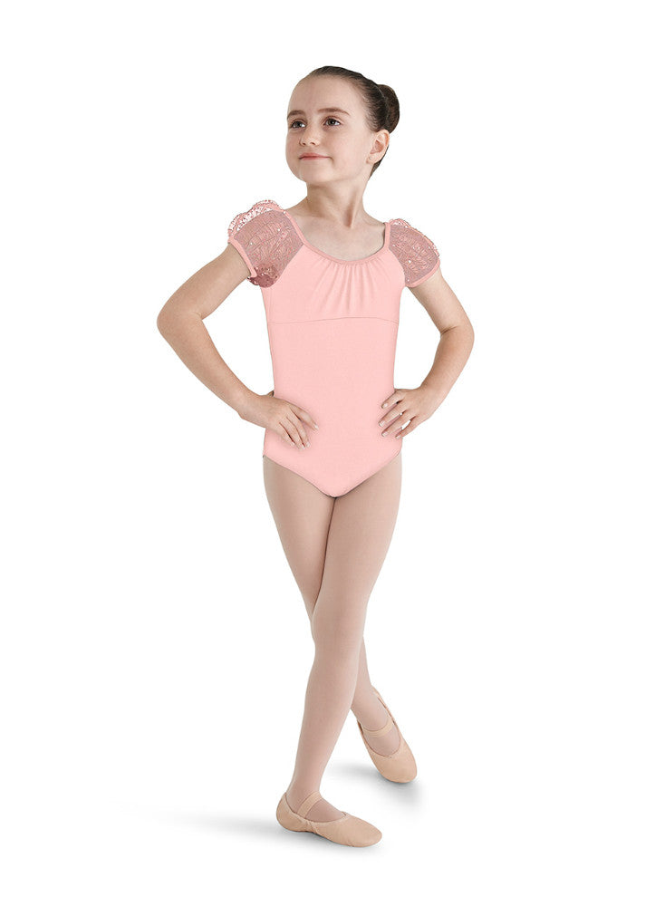 Mirella Child Crinkle Mesh Puff Sleeve Leotard - M616C - Enchanted Dancewear - 1