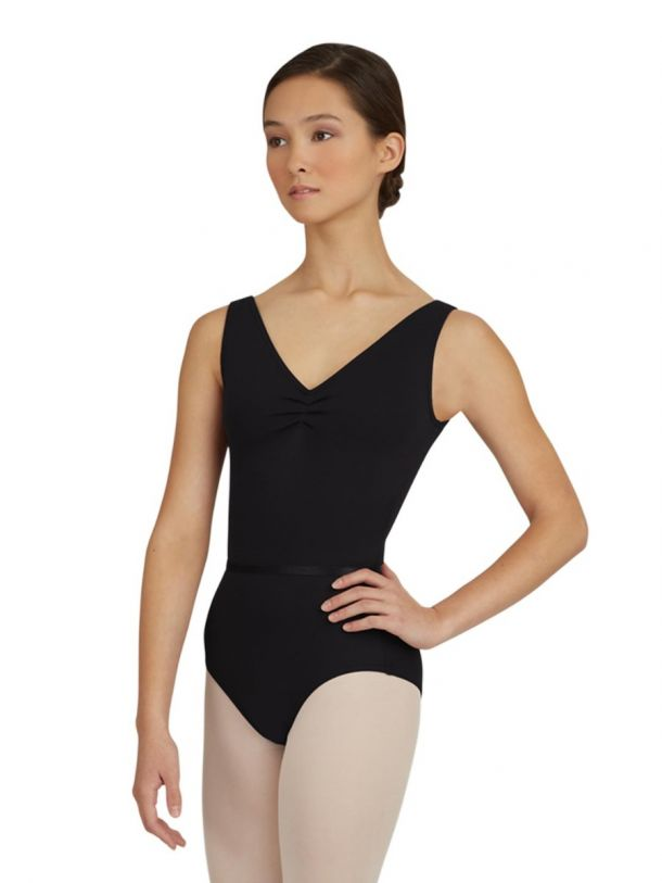 Capezio V-Neck Pinch Front Leotard W/Belt - TC0002