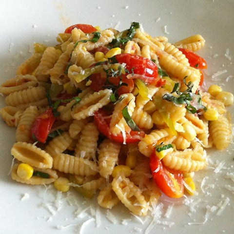 Sfoglini Cavatelli with Corn, Peppers, and Tomatoes