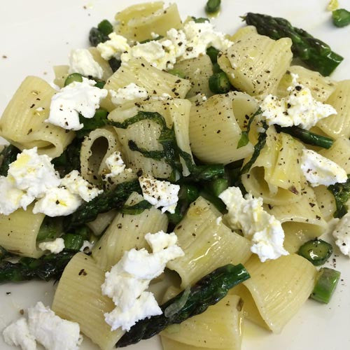 Sfoglini Rigatoni with Asparagus and Goat Cheese
