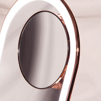 Lara 10x Rose Gold magnetic magnifying mirror on Vera Vanity