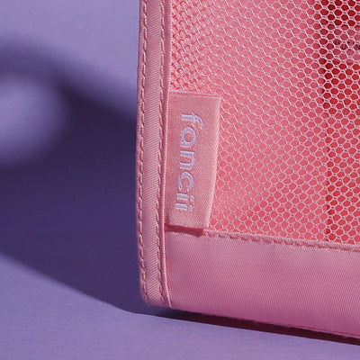 Fancii waterproof pink mesh toiletry bag