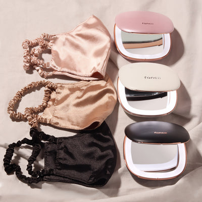 satin face mask and Mila LED compact mirror color options