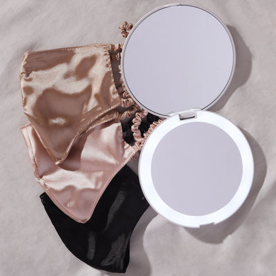 Dual mirror Lumi LED compact mirror and satin face mask bundle