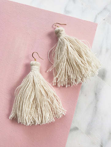 AUSTEN EARRINGS - RAW CANVAS TASSEL