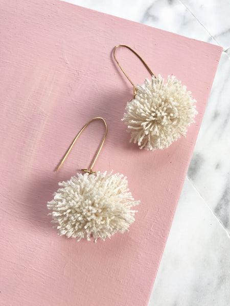 GEORGIANA EARRINGS - RAW CANVAS POM-POM