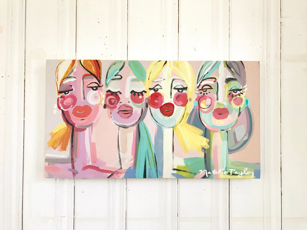 Long Neck Ladies in Peach . 11x20""