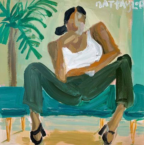 Maria on Teal Couch - Natalie Taylor