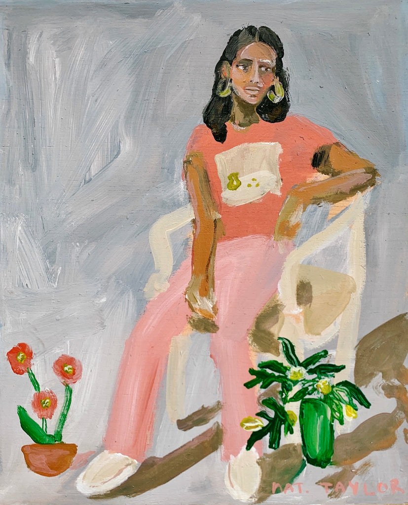 "Anita with House Plants - 10x12"" - Natalie Taylor"