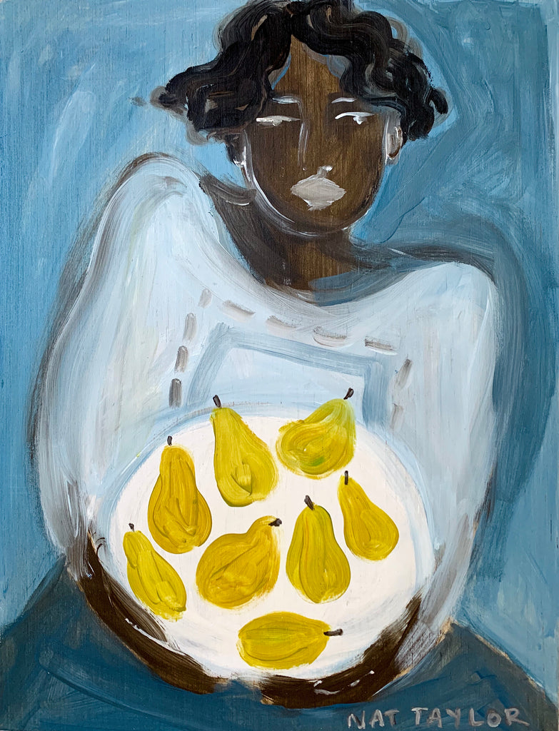 "Louetta & her Pears - 19x25"" - Natalie Taylor"