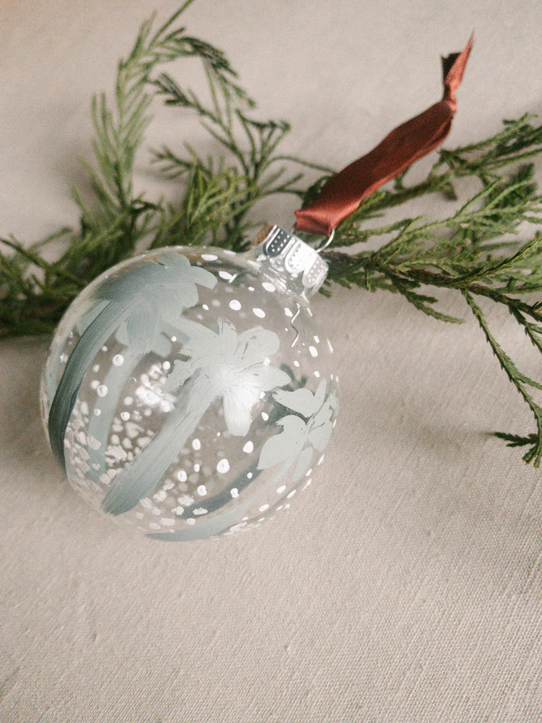 SNOW PALMS ORNAMENT - Red Ribbon