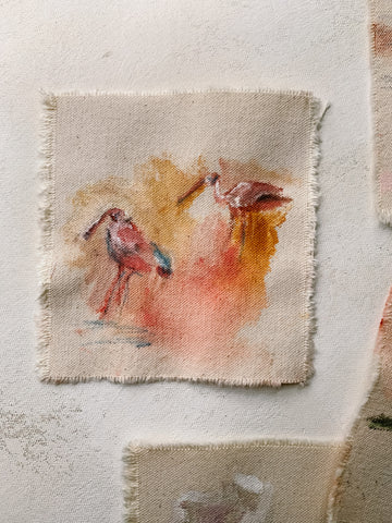 SPOONBILLS AT SUNRISE - 5 X 5""