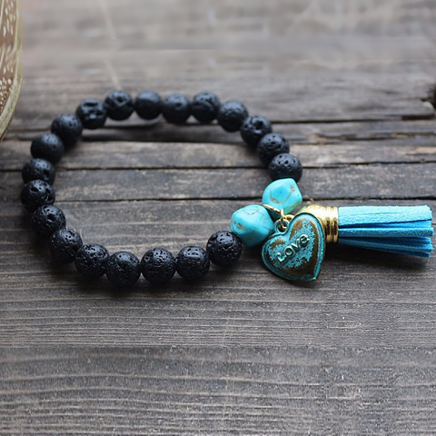'Blue Earth Tasseled' Lava Stone Bracelet Diffuser