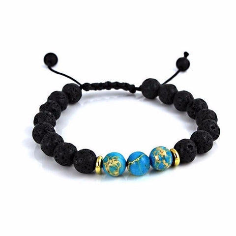 'Blue Sea' Lava Stone Essential Oil Bracelet Diffuser