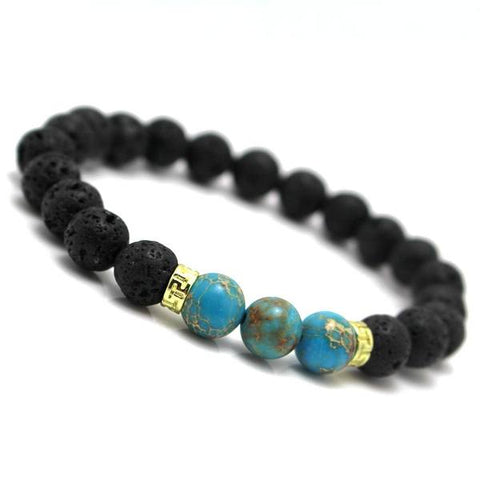 Bracelet - 'Blue Earth' Lava Stone Essential Oil Bracelet Diffuser