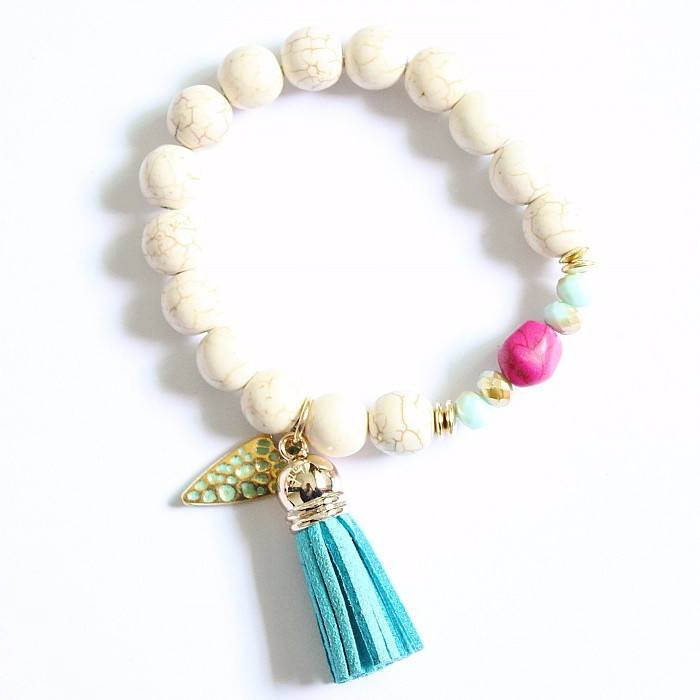 Bracelet - 'Bravery' Leather Tassel Essential Oil Bracelet Diffuser
