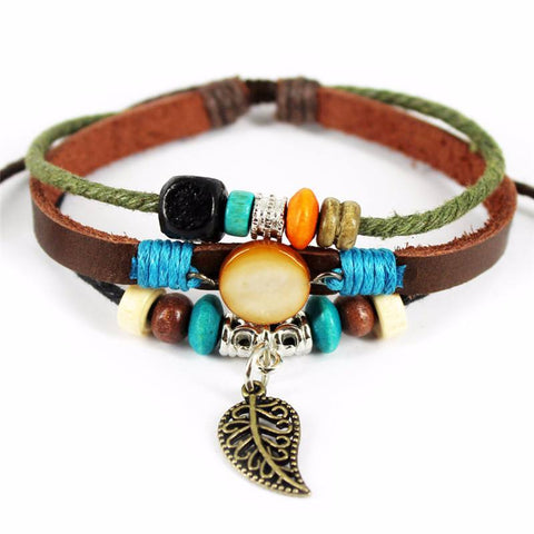 Bracelet - 'Colorful Feather' Leather Essential Oil Bracelet Diffuser