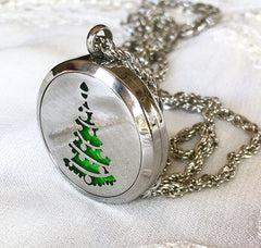 'Festive Tree' Locket Essential Oil Necklace Diffuser
