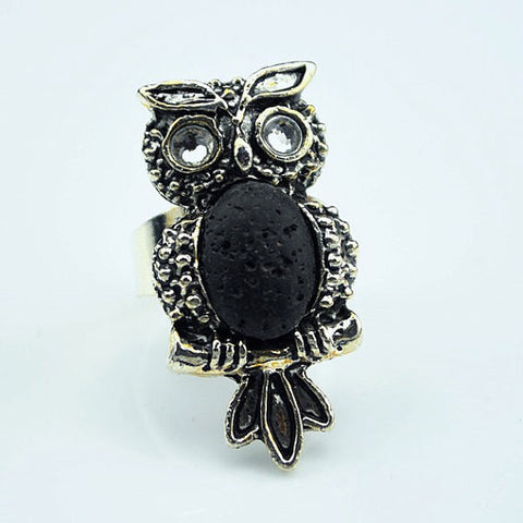 'Owl' Lava Stone Essential Oil Ring Diffuser