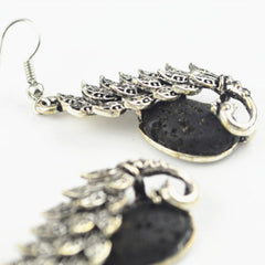 'Peacock' Lava Stone Essential Oil Diffuser Earrings