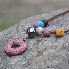 'Colorful' Lava Stone Essential Oil Necklace Diffuser