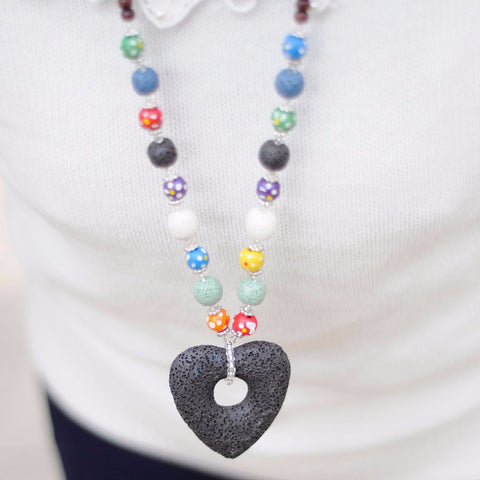 'Big Heart' Lava Stone Necklace Diffuser
