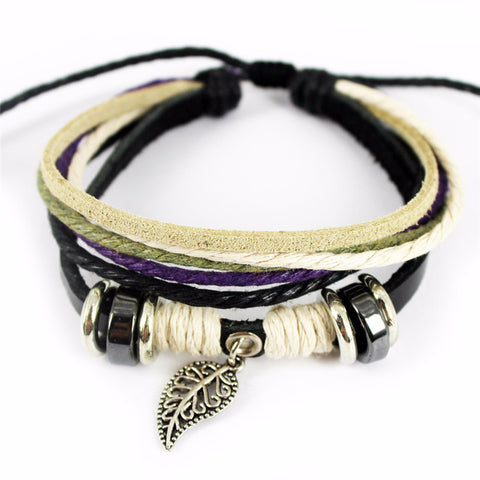 'White Feather' Leather Essential Oil Bracelet Diffuser
