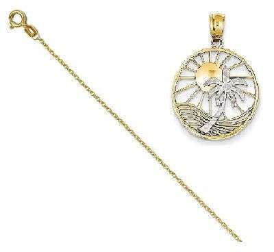 14k Two tone Sun & Palm Tree Pendant with 14k Chain [20] - shopvistar