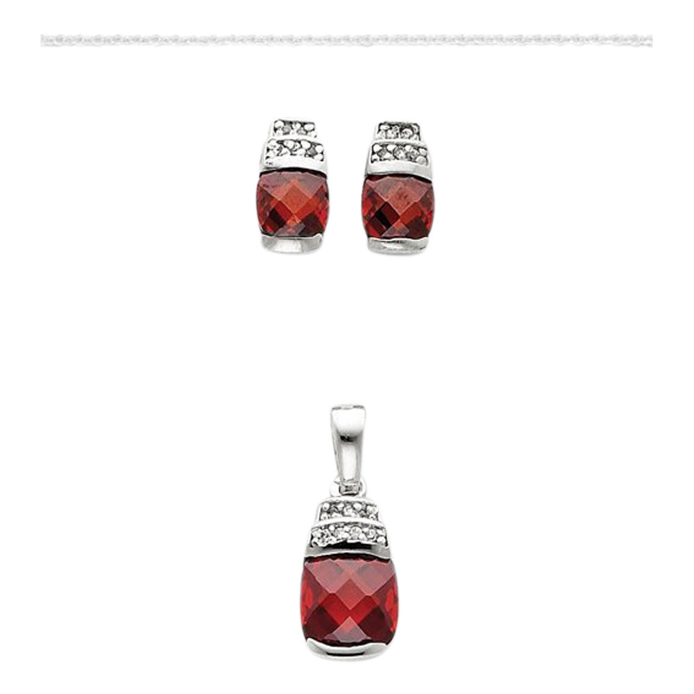 Sterling Silver Red & Clear Cz Pendant and Earring Set with Silver Chain, Lengt... - shopvistar
