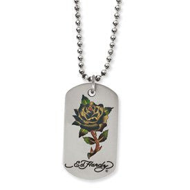 Stainless Steel Painted Rose Dog Tag 24in Necklace by Ed Hardy Jewelry - shopvistar
