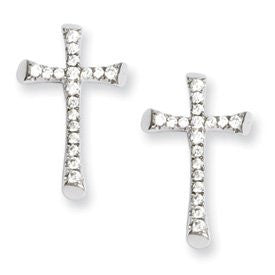 Sterling Silver & CZ Brilliant Embers Cross Post Earrings - shopvistar