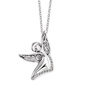 Sterling Silver Cz Angel Of Joy 18in. Necklace, Best Quality Free Gift Box Satisfaction Guaranteed - shopvistar