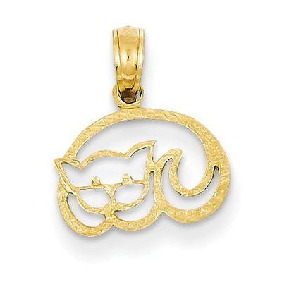14K Sleeping Cat Pendant with 14k Chain [24] - shopvistar