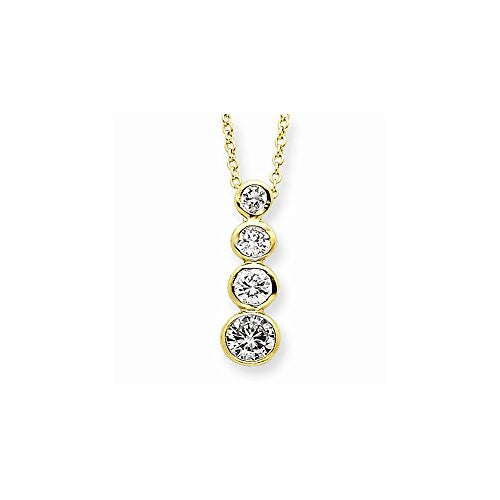 Sterling Silver Vermeil Cz Journey Necklace, Best Quality Free Gift Box Satisfaction Guaranteed - shopvistar
