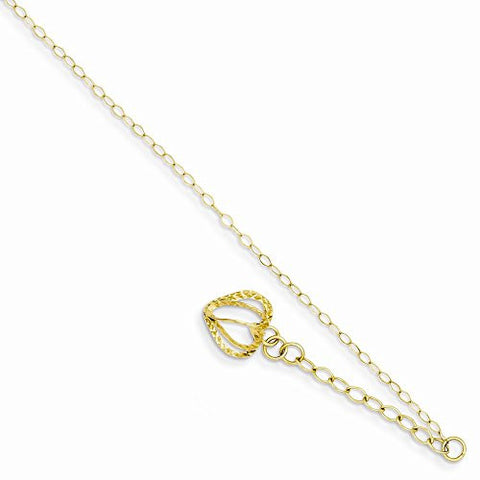 14k Oval Link Chain With D/c Open Heart Cage W/ 1in Ext Anklet - shopvistar