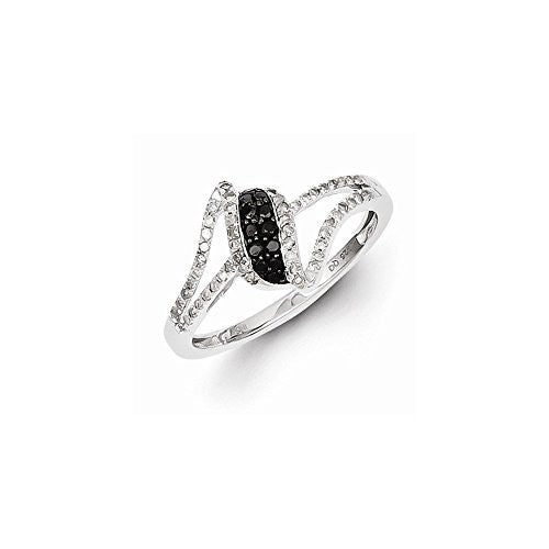 Sterling Silver Rhodium Plated Black & White Diamond Ring, Best Quality Free Gift Box Satisfaction Guaranteed - shopvistar