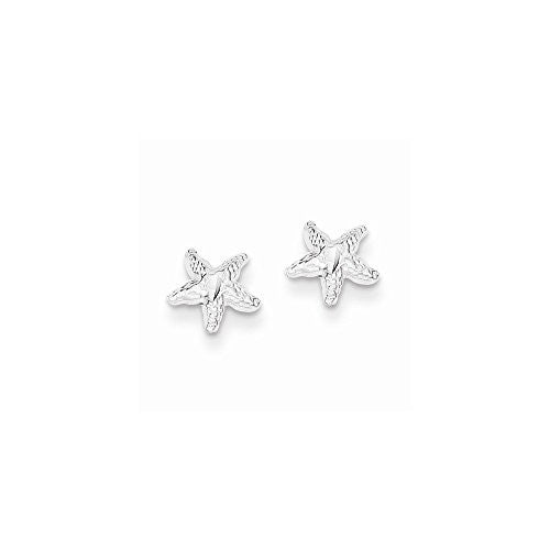 Sterling Silver Starfish Mini Earrings with D/C Center - shopvistar
