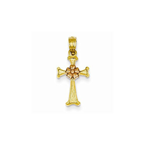 14k Two-tone Flower Cross Pendant, Best Quality Free Gift Box Satisfaction Guaranteed - shopvistar