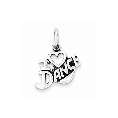 Sterling Silver Antiqued I Love Dance Charm, Best Quality Free Gift Box Satisfaction Guaranteed - shopvistar